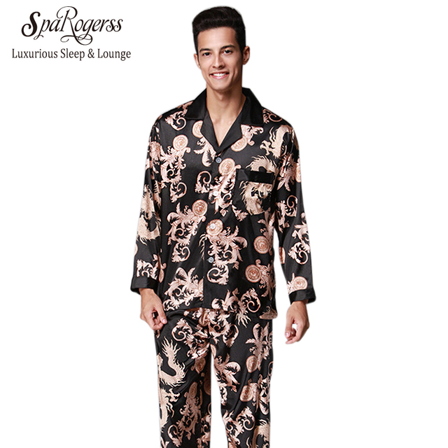 Nobel Mens Pajama Set 2018 New Couple Pajamas Luxurious Men Pajama  Sleepwear Long Sleeved Brand Pants Suit Home Clothing TZ070 9bbb43582