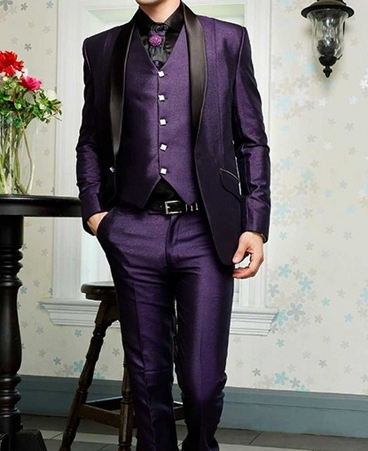 Purple Satin Groom Tuxedos 3 Piece Slim Fit Black Lapel Mens ...