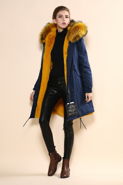 2016 fashionable women navy parka with yellow faux fur lined and ...