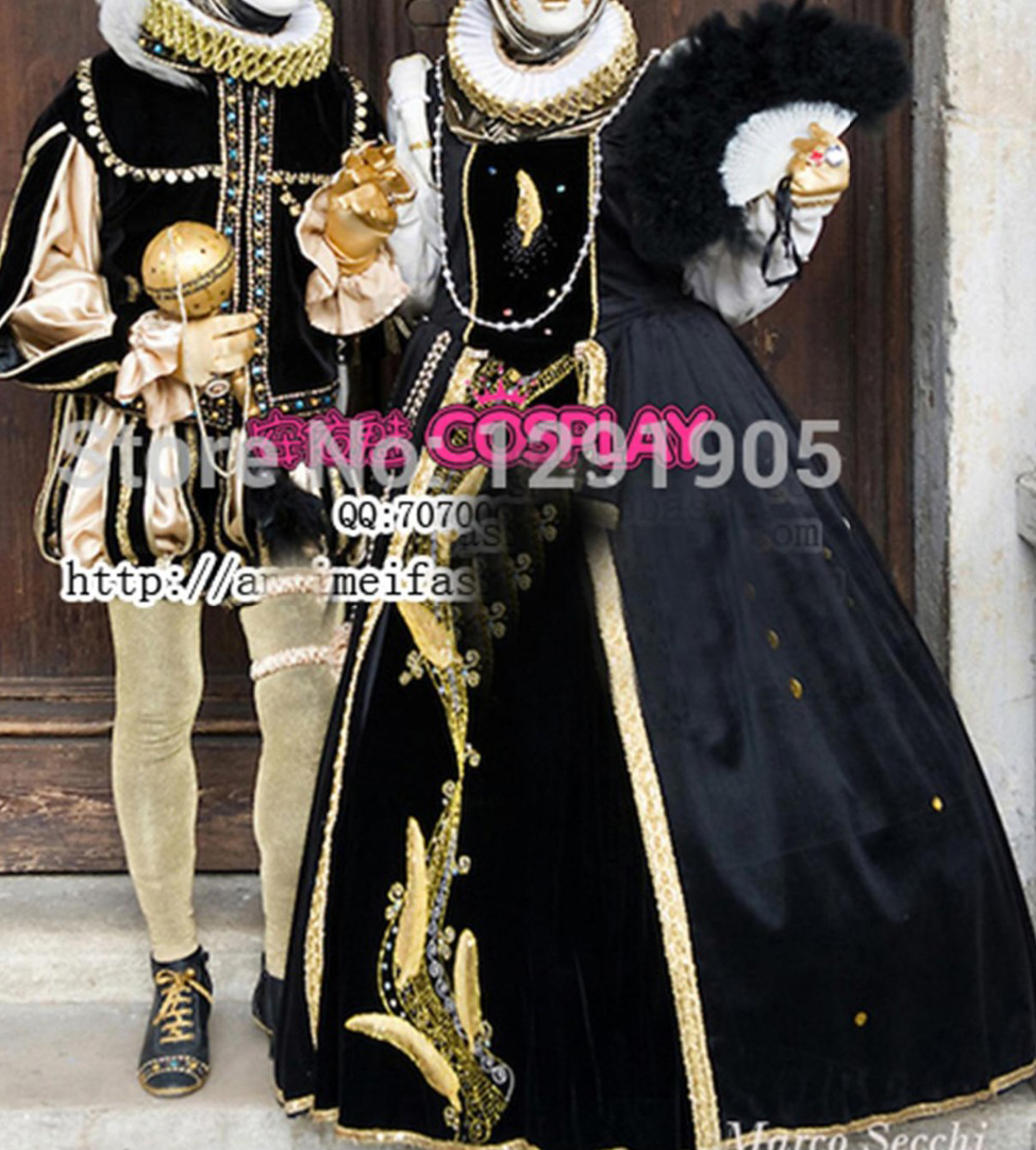 luxury venice carnival gown/mens costume Medieval Renaissance Gown queen Dress Victorian /Marie Antoinette/Colonial Belle