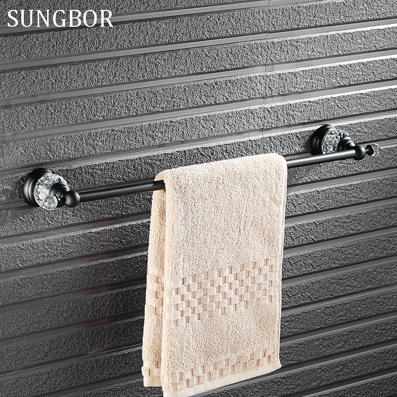 Brass & Crystal Made,Black Oil Brushed Wall Mounted Single Towel Bar,Bathroom Towel Holder, Towel Rack ,Bathroom Accessories цена
