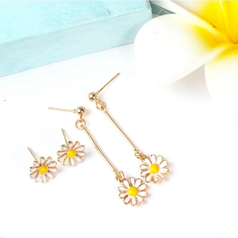 Korean Japan White Yellow Flower Drop Earrings Cute Small Daisy Long Dangle For Women Girl Gift Summer Jewelry