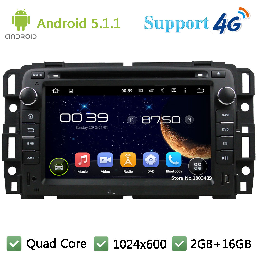 Quad Core 7″ 1024*600 Android 5.1.1 Car DVD Multimedia Player Radio Stereo PC DAB+ FM BT 3G/4G WIFI GPS Map For GMC 2015-2016