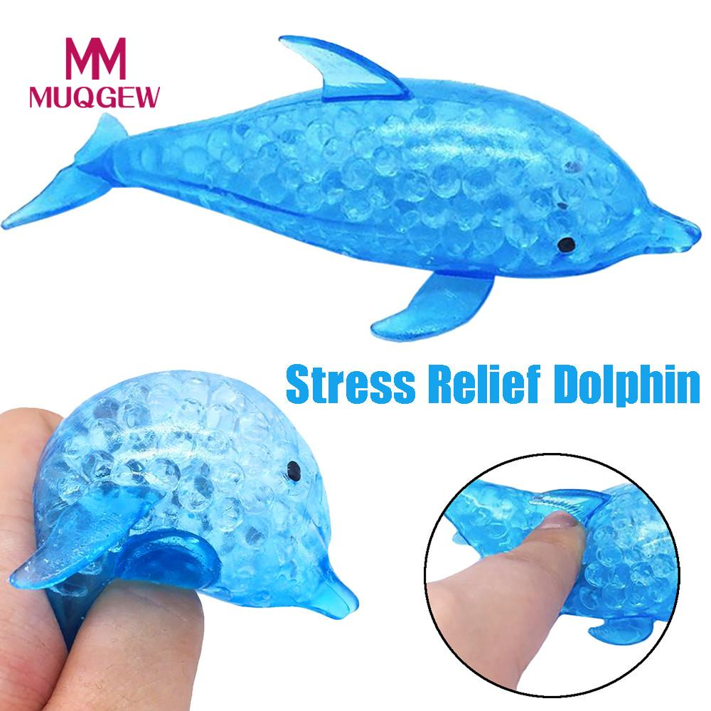 Fashion Spongy Dolphin Bead Stress Ball Toy Squeezable Squishies Toy Stress Relief Toy