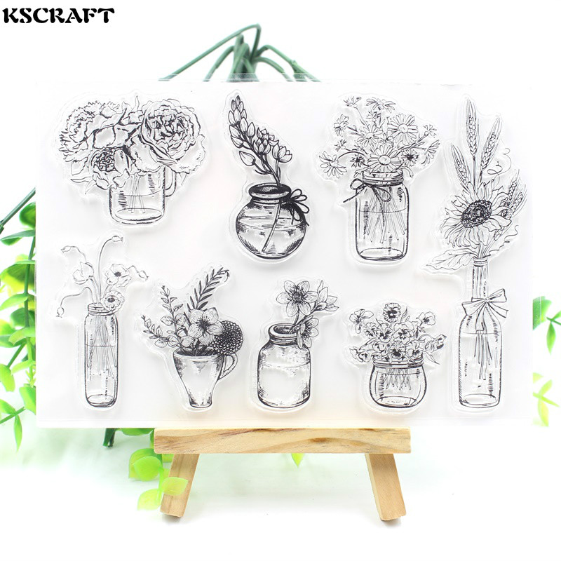 Transparent Clear Silicone Stamps Flowers pots for DIY Scrapbooking Card MakinFO