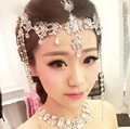 Прозрачного хрусталя мотаться лоб повязка tiara корона свадебный театрализованное пром заставки свадебные teardrop волос свадебные аксессуары A022