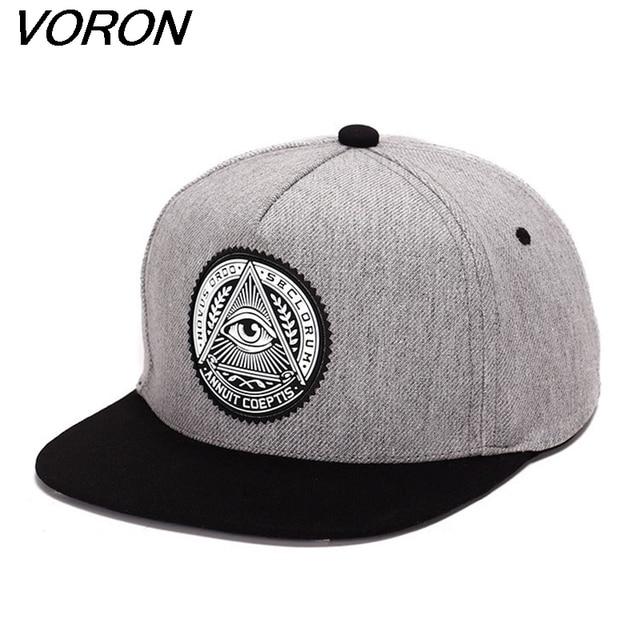 f932ec1d6f6 VORON Classic 5 panels cotton snapback 3d god eyes plastic patch mens flat brim  baseball cap hip hop hat and cap for men women