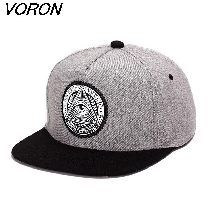 VORON Classic 5 panels cotton snapback 3d god eyes plastic patch mens flat brim   baseball     cap   hip hop hat and   cap   for men&women