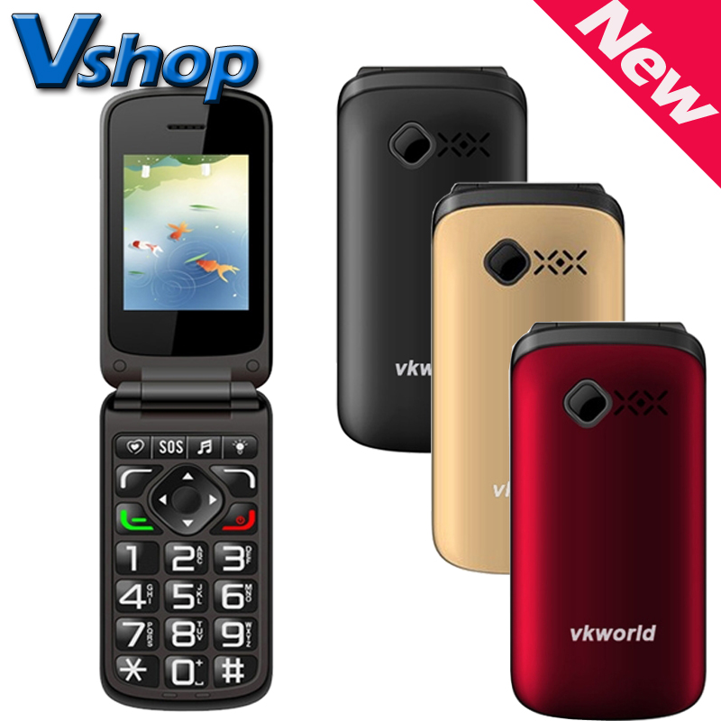 VKworld Z2 2 4 inch Large Button TFT Flip Elders Mobile Phone Dual SIM Card 0