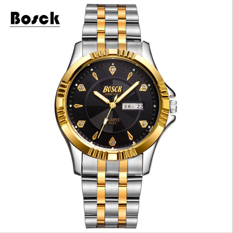 BOSCK 3021 Simple Gold Stainless Steel Men s Watches Stainless Steel Waterproof Leisure Business Watches