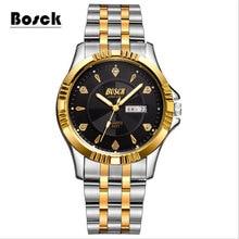 BOSCK 3021 Simple Or En Acier Inoxydable Hommes de Montres, Acier inoxydable Étanche Loisirs D'affaires Montres relojes hombre 2016