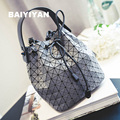 2016 Women Plaid Leather Handbag Chains Drawstring Ladies Bucket Bag Messenger Bags Cross Body Shoulder bag