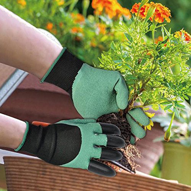 2017Garden Gloves for Digging and Planting Right Left Handed Garden Genie Gloves with Fingertips Right Claws Quick Easy to safe