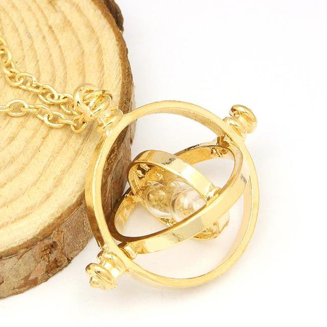 Printed Hermione Rotating Time Turner Gold/Silver Necklace
