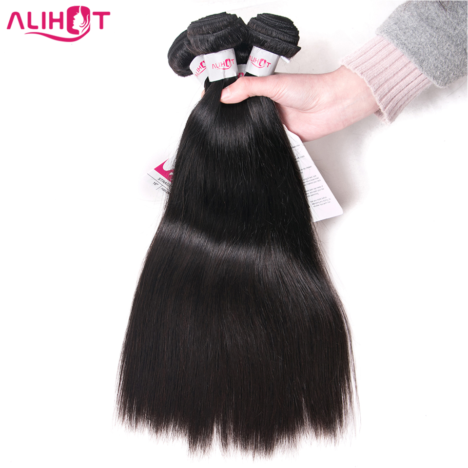 ALI HOT Hair Raw Indian Straight Hair Bundles 3pcs lot 100% Remy Human Hair Weave Extensions Machine Double Weft Can Be Dyed