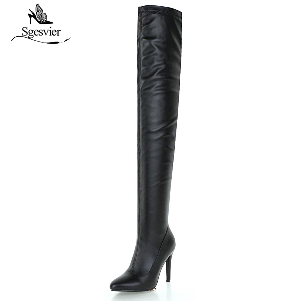 Sgesvier 2018 Handmade Big Size 33-48 Women Over The Knee Boots Zip Pointed Toe Thin High Heel Long Boots for Skinny Legs OX652 все цены