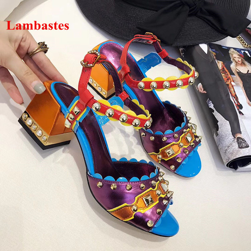 2018 Summer Mixed Color Women Sandals Peep Toe Rivets Punk Style Crystal Designer Women Sandals Square Heel Casual Shoes Women cool car style game console and handle protection stickers skin decal for ps4