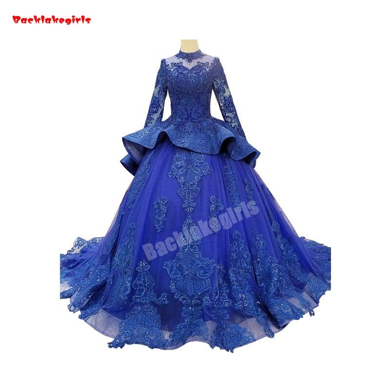 2147 Fashion Women Bright Blue Wedding Dresses Long Sleeve Crystal Appliqued Fluffy Layered Blue Ball Gown