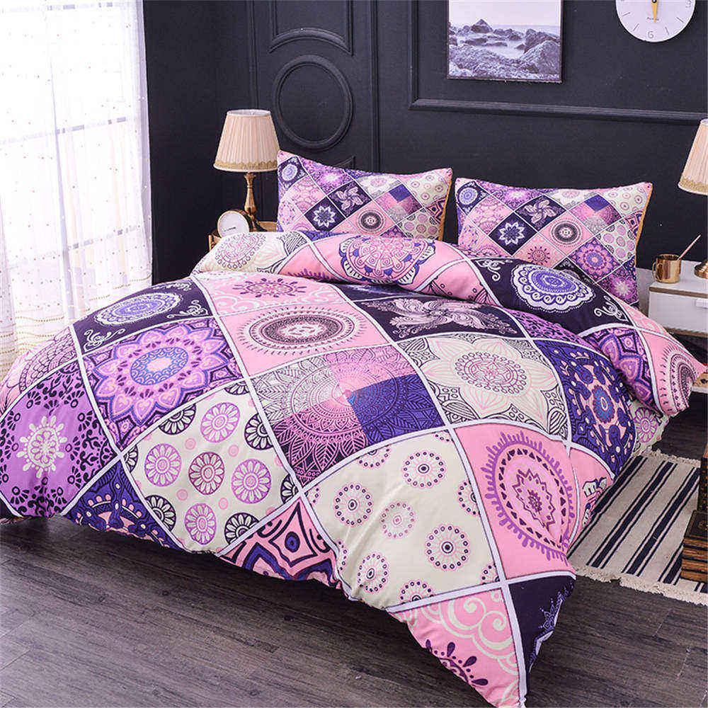 ZEIMON Soft Home Textiles 3pcs Polyester Geometric Mandala 3D HD Pattern Duvet Cover With Pillow Case For Bedroom Decor