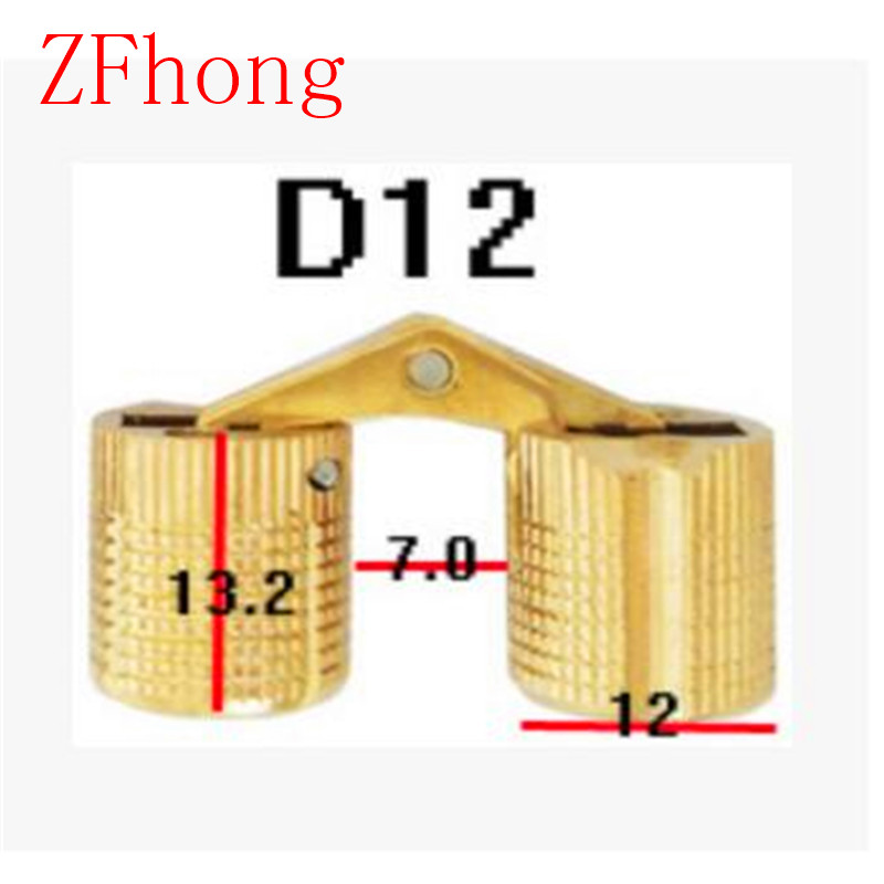 4PCS 12mm Copper Barrel Hinges Cylindrical Hidden Door Cabinet Concealed Invisible Brass Hinges Mount Furniture Hardware 2pcs set stainless steel 90 degree self closing cabinet closet door hinges home roomfurniture hardware accessories supply