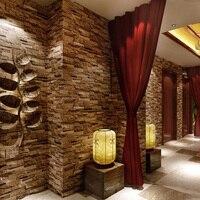 Deep Embossed 3D PVC Brick Wallpaper Modern Vintage Brick Stone Pattern Paper Wallpaper Roll For Living