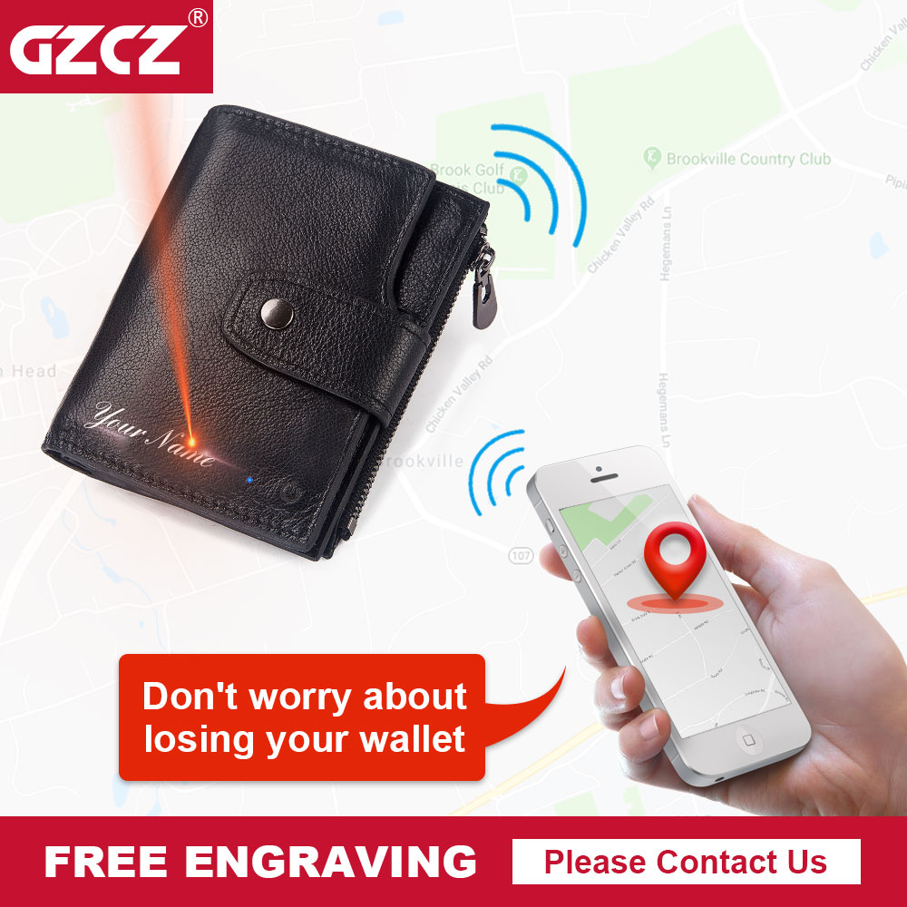 GZCZ Smart Wallet Rfid Genuine Leather with alarm GPS Map Bluetooth Alarm Men Purse Male Money Bag Card Holder Free EngravingGZCZ Smart Wallet Rfid Genuine Leather with alarm GPS Map Bluetooth Alarm Men Purse Male Money Bag Card Holder Free Engraving