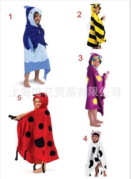 Niños 5 modelos lugar forma animal de la historieta albornoz albornoz del bebé pijamas del bebé manto playa