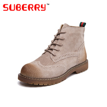 SUBERRY 2016 Grind Arenaceous Pigskin Martin Boots Classic Bullock Lace Up Round Toe Ankle Boots Thick Heel Flat Shoes Size 40