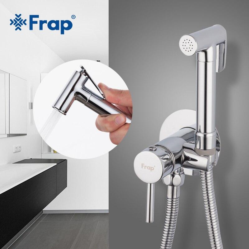 Frap Bidé Torneiras de Latão torneira Do chuveiro do Banheiro bidé sanita pulverizador higiênico lavadora misturador muçulmano chuveiro ducha higienica F7505-2