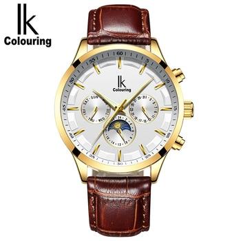 Ik Top Brand Automatic Mechanical Watch Men Multi-Purpose Calendar Moon Phase 6 Pointer Work Fashion Men Watch relogio masculino