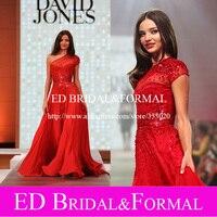 Miranda Kerr Runway Dress Illusion Neckline One Shoulder Short Sleeve Sequined Red Chiffon Prom Dress