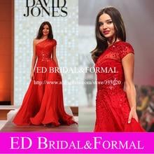 Miranda Kerr Runway Kleid Illusion Ausschnitt Schulter Kurzarm Pailletten Red Chiffon Abendkleid Abendkleid