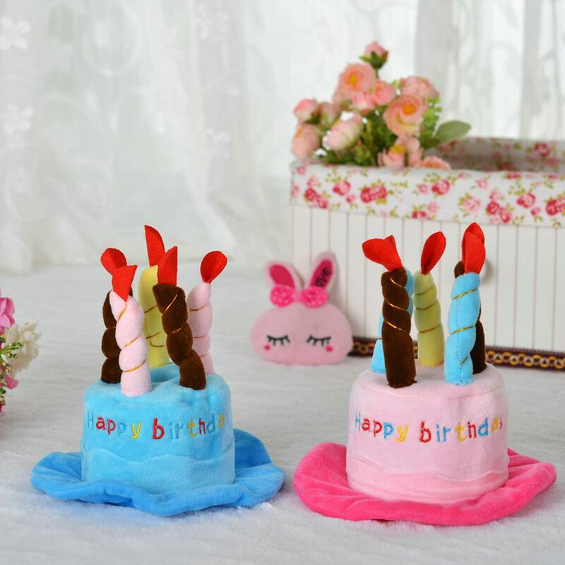Fashion Birthday Cake Cap Dog Birthday Hat With Cake Candles