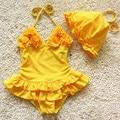 Meninas que Nadam o Desgaste Folwers Biquíni Capa 2 Peças Define Crianças Fatos de banho Biquíni Definir praia bebês swimwear maillot de bain fille