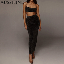 AOSSILIND Two Piece Sexy Bodycon Long Dress Black Spaghetti Strap Cropped Summer 2 Women Backless Casual Club