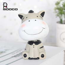Roogo Animal Manor Series Home Decoration Accessories Resin Anime Animal Figurine Toy Gift For Children Family Desktop Ornaments roogo sweet wedding home decoration accessories resin bridegroom and bride figurine gift for couple family desktop ornament