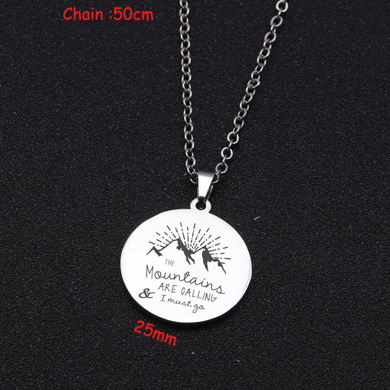 Stainless Steel Necklace Engraved Mountains Are Calling & I Must You For Lovers Gift Mirror Style Necklace Fashion Jewelry