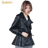 2018 новый черный Искусственная кожа куртка Для женщин короткая тонкий ремень Для женщин кожаная куртка и пальто отложной воротник куртка