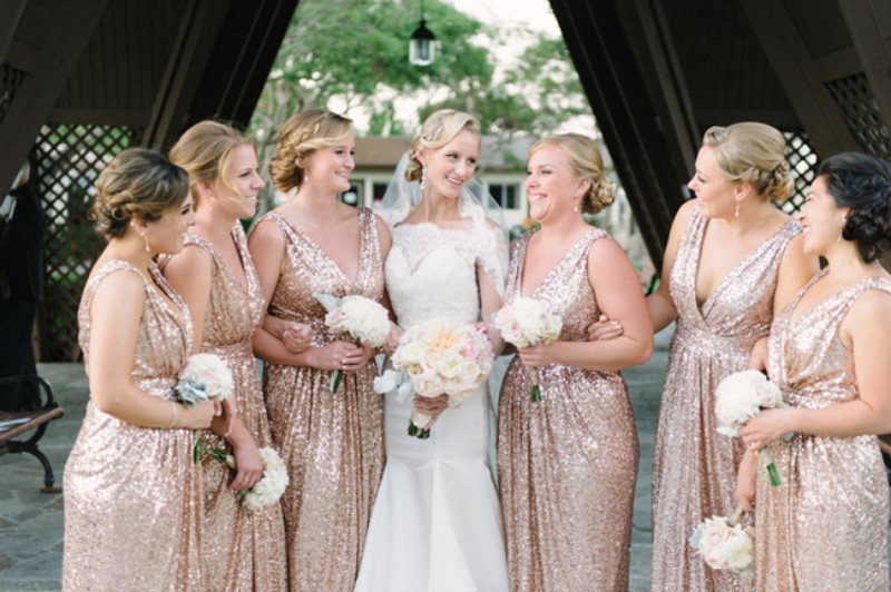 2016 Rose Gold Sequins Maid Of Honor Bridesmaid Dresses V Neck A Line Floor Length Bling Long Plus Size In From Weddings Events On