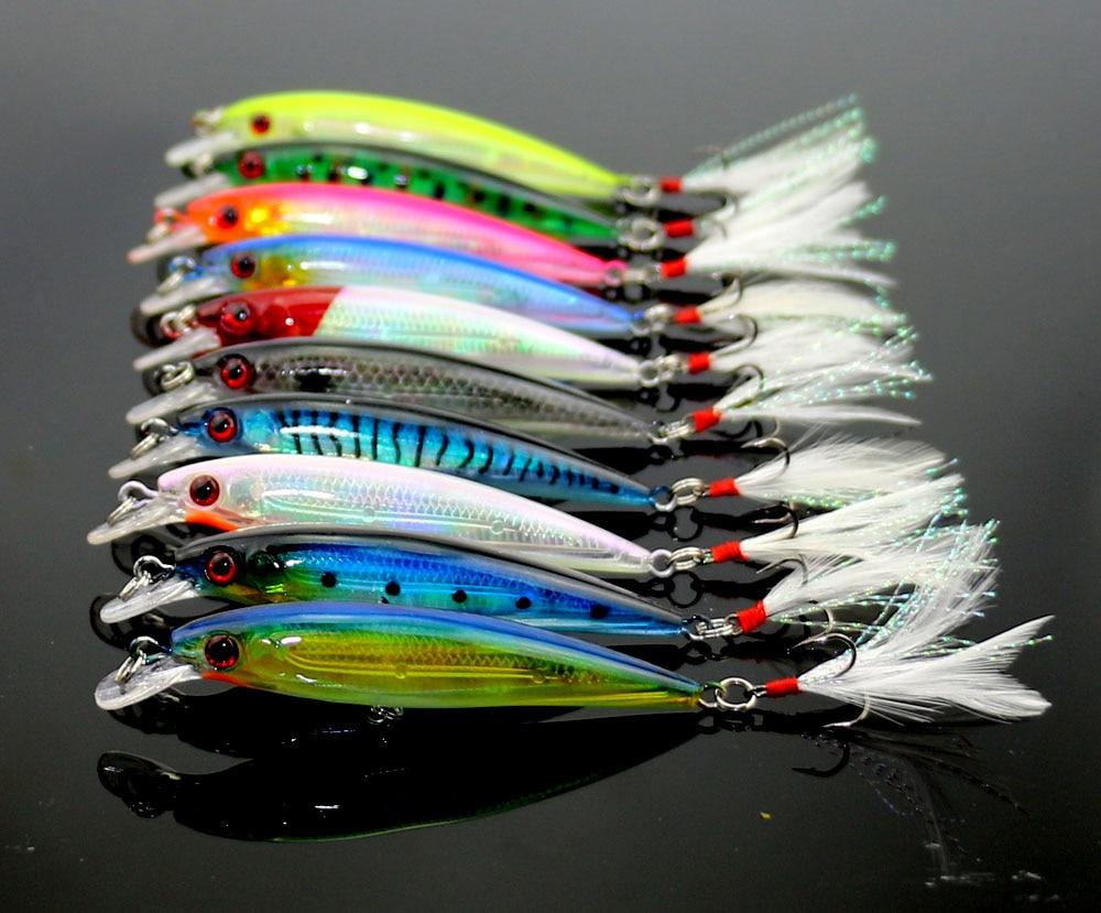 HENGJIA leurre de pêche Wobbler Laser vairon 6 plume crochet plastique 9 CM 7.2G