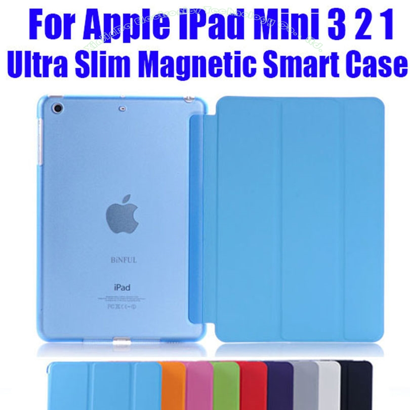 все цены на  1PC Newest Leather Case for Apple iPad Mini 3 2 1 Fashion  Smart Cover + PC translucent back Cover NO: IM302  онлайн