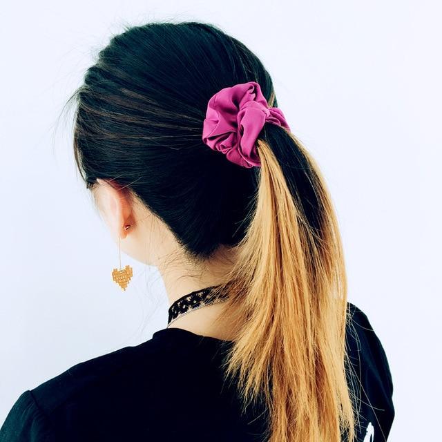 Fashion Women Silk Feeling Satin Plain Professional Hair Scrunchies Solid  Color Simple Fabric Hair Ties Elegant Hair Bands 58818060ead