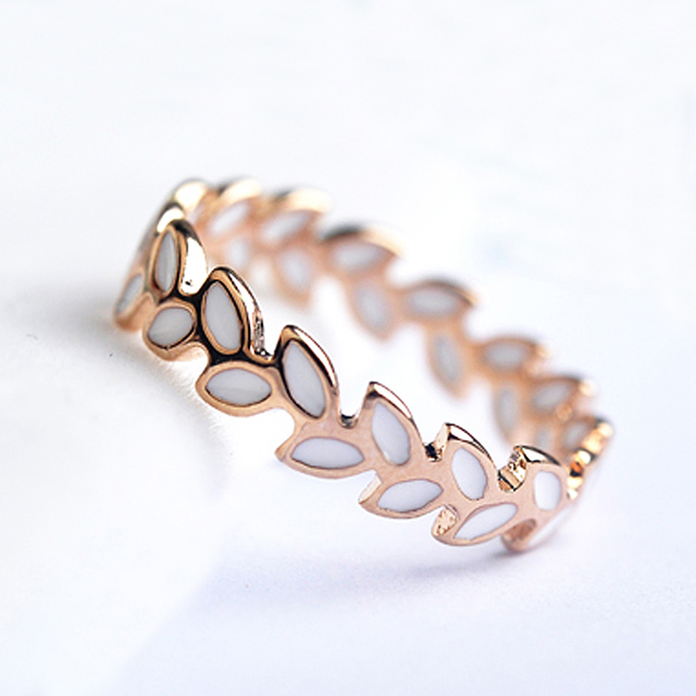 USTAR hoja marca Anillos para las mujeres Rose gold color boda ...
