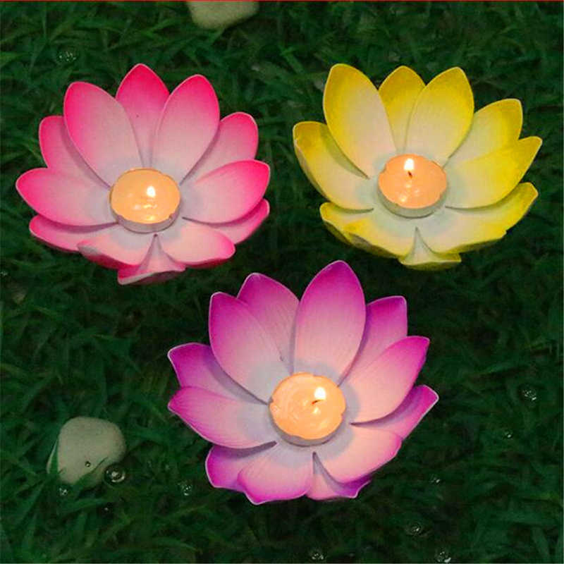 1 PC Outdoor Floating Lotus Candle Holder Light Pool Pond Garden Water Flower Candlestick Votive Holder Color Random