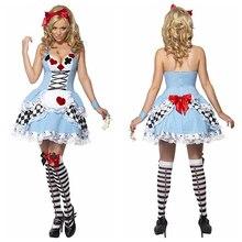Nueva llegada sexy mujeres chica halter patrón poker dress set de halloween cosplay traje de la criada