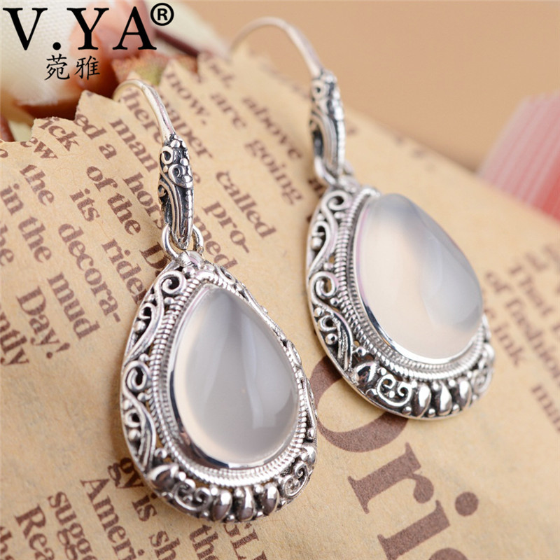 V.YA 100% 925 Sterling Silver Women Earrings Water Drop Shape Natural Pink Stone Earrings Jewelry Women's Gift 5 11