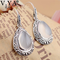 V.YA 100% 925 Sterling Silver Women Earrings Water Drop Shape Natural Pink Stone Earrings Jewelry Women's Gift
