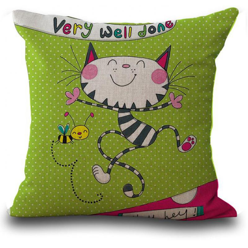 fe52d3c4086b Hand Painted Cute Cartoon Cat Girl Linen Throw Pillow Rooms Decor Bedside  Back Cushion For Kids Gift Factory Direct Supply-in Cushion from Home    Garden on ...