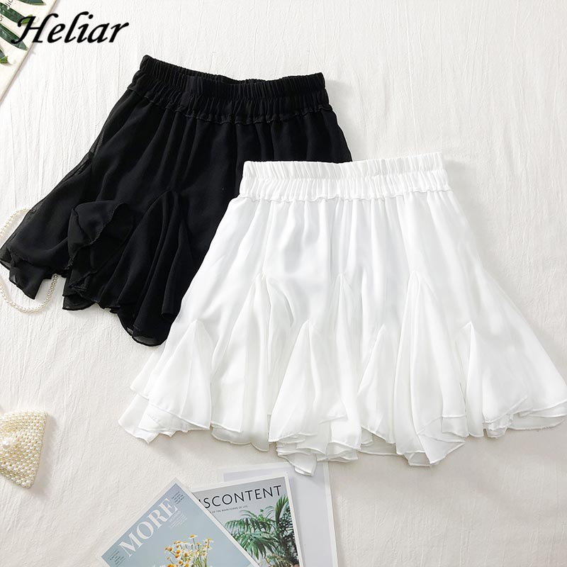 HELIAR Skirt Ruffles A-line Mini Casual Beach Skirt South Korean Solid Skirt Students High Waist Skirt 2019 Summer Women Skirt