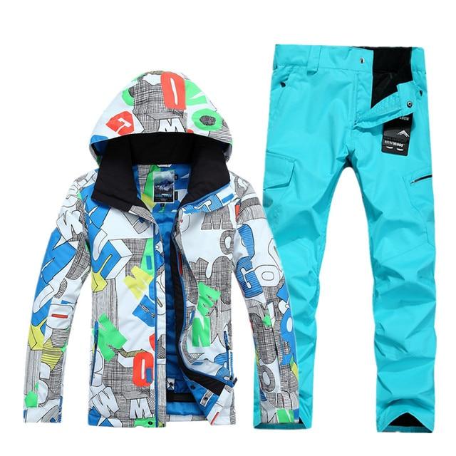 d964b54932 US $209.99 |Uomini giacca da sci DA NEVE GSOU tuta da sci da uomo +  pantaloni da snowboard giacca da uomo inverno malehiking giacca sci di  sport tute ...